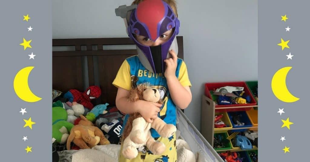 a funny toddler refusing his bedtime