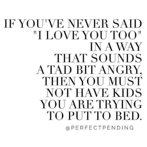 """If you've never said """"I love you too"""" in a way that sounds a tad bit angry, then you must not have kids you are trying to put to bed"""""""