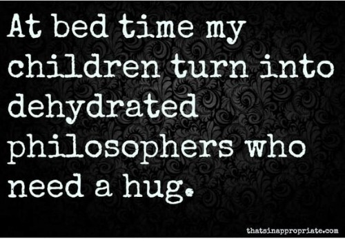 """meme that says """"At bedtime my children turn into dehydrated philosophers who need a hug"""""""