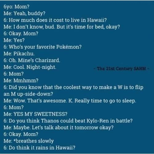 Text of a long conversation between a six year old and parent at bedtime