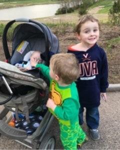 baby kindergartner and toddler doing daily walking activities
